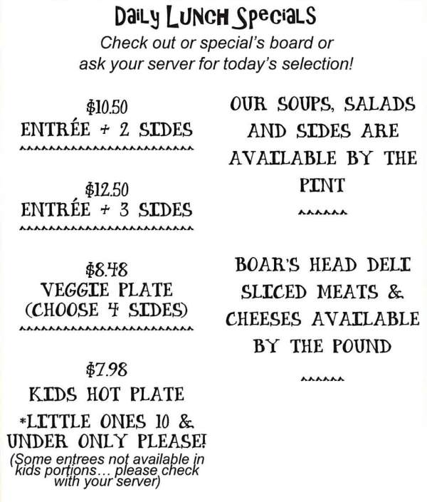 Page 3 of menu, Cheryl's Cafe & Market in Spanish Fort, AL