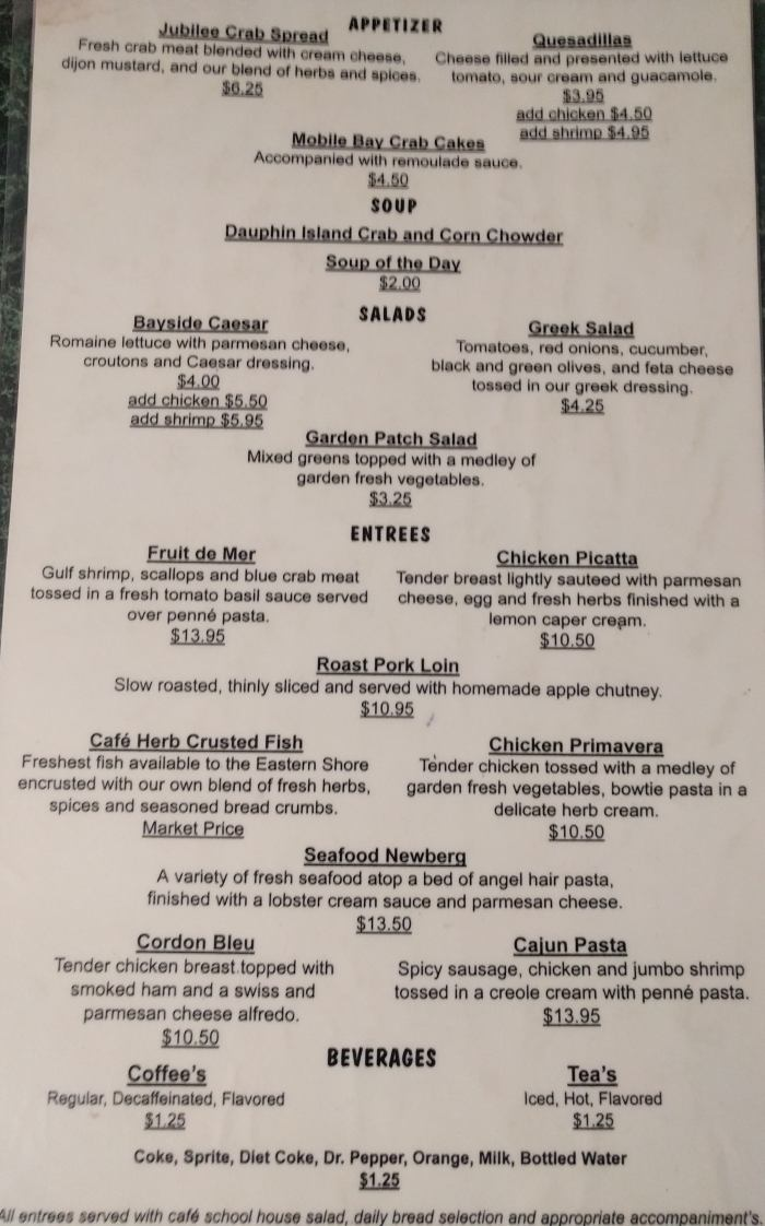 Dinner menu, East Shore Cafe in Daphne, AL